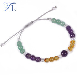 Wholesale Cute Colorful Handmade - TL New Handmade Chakra Beaded Bracelet Natural Aventurine Yellow Purple Clear Crystal Colorful Healing Bracelets Cute Bracelets