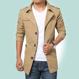 Wholesale Slim Suit Small - 2017 spring men's jacket in the long section of small suit big size outdoor leisure coats cotton windbreaker outerwear