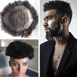 Wholesale Afro Kinky Lace Wig Human - Best Selling Natural Black Indian Virgin Human Hair Kinky Twist Afro Toupee for Black Men Free Shipping