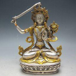 Wholesale Handmade People - 14.5 cm *   China's Tibet Buddhism handmade silver gilded Buddha