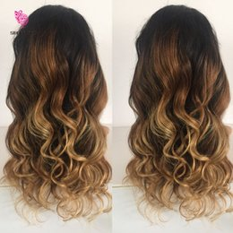 Wholesale Ombre U Part Wigs - 3 Tone Color Ombre Lace Front Human Hair Wigs Brazilian Full Lace Human Hair Wigs For Black Women Human Hair U Part Wig