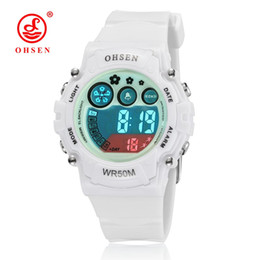 Wholesale Watches Led Kids - New 2017 OHSEN white rubber band digital LED Wristwatch boys kids 50M waterproof outdoor sports cartoon children watches gifts
