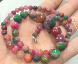 """Wholesale faceted jade - Natural Bead GEMS STONE Limited Beautiful! Faceted 6-14mm Multicolor Jade Round Gems Beads Necklace 18"""""""