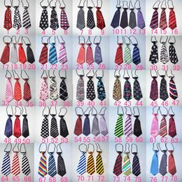 Wholesale Elastic Neckties - Baby Boy necktie New Stripe Polka Dots Printed School Wedding Elastic Neckties Formal Suit neck Ties-Solid Kids Neck Ties C1038