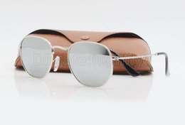 Wholesale Silver Mirror Metal Sunglasses - 1pcs Mens Womens Fashion Hexagonal Metal Sunglasses Irregular Personality Sun Glasses Silver Mirror Glass Lenses With Better Brown Cases