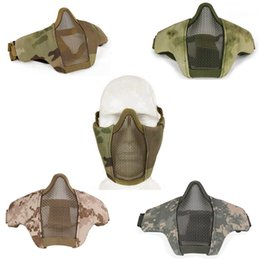 Wholesale Steel Mesh Mask - Tactical Face Mask Half Lower Face Metal Steel Net Mesh Mask Hunting Tactical Protective CS Half Face Mask