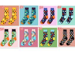 Wholesale Wholesale Polka Dot Socks - 8 designs fashion high quality 2pcs=1pair Happy socks men's polka dot socks men's casual cotton socks M003