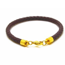 Wholesale Men Magnetic Bracelet Sale - Free Shipping 10pcs lot hot sale Men Jewelry Handmade Vintage Mens Leather Bracelet 2017 Stainless Steel Magnetic Clasp Gift Pulseras