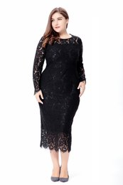 Wholesale Hugs Pictures - Plus Size Lace Evening Dress Long Sleeves Tea Length Sheath Fitted Body Hugging Party Formal Gown Mother of the Bride Dress