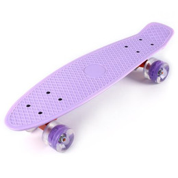 Wholesale Led Skateboard Wheels - 5 Colors 22 Inches Mini Cruiser Banana Style Longboard Pastel Color Fish Skateboard with LED Flashing Wheels +B