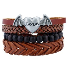 Wholesale Statement Chains - Men Punk Metal Love Heart Wings DIY Handmade Braided Leather Multilayer Chains Bracelets maxi statement fashion jewelry drop shipping 162098