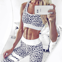 Wholesale Long Leopard Tank Top - Women's Fitness Suits Crop Tank Top And Legging Pants 2 Pieces Set Summer Fashion Ladies Sexy Workout Leopard Printed Tracksuit