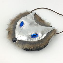Wholesale Fox Fur Purse - Wholesale- Slivery Fox Children's Coin Purse Blue Eyes Animal Shape Kids Small Bag PU Fashion Boys Coin Bag Cool Fur Print Black Nose Bag