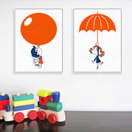 Wholesale Umbrella Posters - Modern Red Balloon Umbrella Boy Girl A4 Large Art Print Poster Cartoon Wall Picture Canvas Painting No Frame Kids Room Home Deco