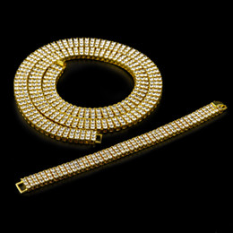 """Wholesale Mens Diamond Jewelry - High Quality Men's Gold Plated Hip-Hop Iced Out 30"""" 3 Row Simulated Diamond Bling Bling Chain & Bracelet Mens Jewelry"""