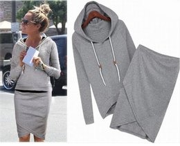 Wholesale Hoodie Ladies - Dresses for Women 2 pieces Set Hooded Hoodies Sweatshirt + Bodycon Skirt Ladies Elegant Long Sleeve Dress WM308