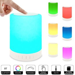 Wholesale Table Lamp Speakers - All in One Led Blueooth Speaker Bedroom Table Lamp Stereo Subwoofer Smart Touch Color Changing Portable Wireless Speaker for iPhone and iPad
