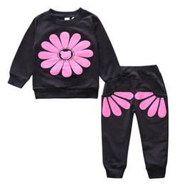 Wholesale Sunflower Pants - Spring Autumn Long Sleeve Kids Girl Clothes Fashion Sunflower Long Sleeve Cotton Top+ Pants Two Piece Set SKW-180
