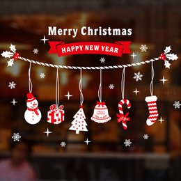 Wholesale Santa Claus Christmas Stickers - Christmas Door Stickers Shopping Mall Shop Decor Wall Window Glass Delicate Decal Snowflakes Santa Claus Multi Pattern 5 2mq F R