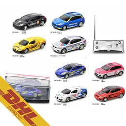 Wholesale Battery Cars For Kids - 36pcs lot Mix Order 1:53 RC 4CH Mini Racing Car 8 Colors Coke Can Scale Cars LED Light Radio Remote Control Vehicle Toys for Kids