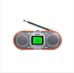 Wholesale new portable stereo radio - Wholesale-New Arrival Degen DE23 dab radio FM-stereo MW SW DSP World Band Receiverelderly MP3 mini speaker card Free shipping