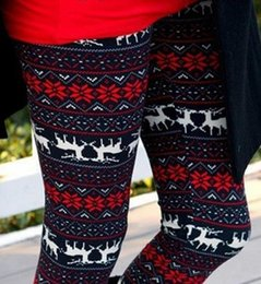 Wholesale Elk Leggings - Women Christmas Elk Prints Leggings High-Waist Cotton Pencil Pants warm leggings pants 5 sizes free shipping