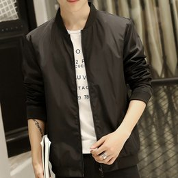 Wholesale Casual Male Jackets - Wholesale- 2017 New Autumn Men's Bomber Jackets Solid Fashion Thin Type Coats Male Casual Slim Stand Collar Jacket Men Windbreaker