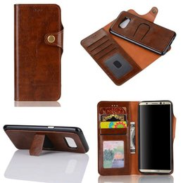 Wholesale Two Phones One Case - For samsung S8 plus Crazy Horse Leather Wallet phone case Two in one Detachable Back Cover with Kickstand Holder Business Triangle Button pr