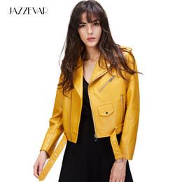 Wholesale Ladies Leather Hooded Jackets - Wholesale- JAZZEVAR New Autumn Fashion Street Women's Short Washed PU Leather Jacket Zipper Bright Colors Ladies Basic Jackets Good Quality