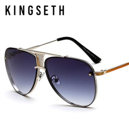 Wholesale Luxury Fashion Eyeglass Frame Brands - KINGSETH 2017 Popular Fashion Women Men Luxury Sunglasses Women Sun Glasses Cool Metal Pilot Glasses Brand Designer Shade Eyeglasses UV400