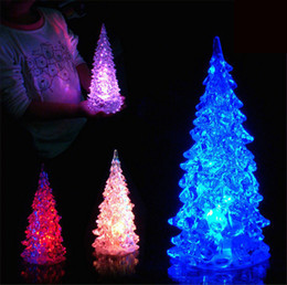 Wholesale Ornaments For Christmas Tree - Acrylic LED Christmas Tree Night Light Crystal Christmas Tree Colorful Christmas Ornaments Xmas Night Lamps For Gift