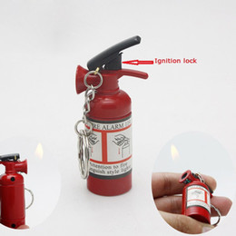 Wholesale Extinguisher Butane - Wholesale-1pc Mini Extinguisher-Type Fire Refillable Cigarette Lighter Butane Gas Lighter With Key Chains Good For Gift Collection New