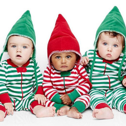 Wholesale Baby Boy Holiday Clothes - New BABY Boys Girls Xms Clothes Children Chirstmas Rompers Striped Holiday Outfit Set New Year Jumpsuit Toddler Green Red Next Outfit Set