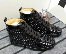 Wholesale Ivory Lace Flat Wedding Shoes - drop shipping new casual Prefer Luxury Party Shoes Spikes Red Bottom Sneaker Flat Men's High Top Lace-up Fashion Wedding Gift Birthday 36-47