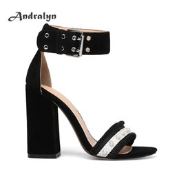 Wholesale Super High Heels Sandals Black - Andralyn super high heels for women Belt sandals suede square heel buckle strap ladies shoes fashion Pearl zapatos mujer