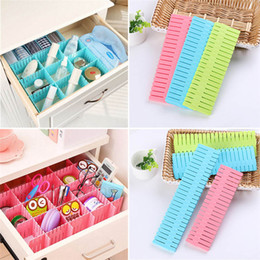 Wholesale Wholesale Plastic Drawer Organizers - 4Pcs lot DIY Plastic Grid Drawer Divider Household Necessities Storage Organizer Home Space-saving Tools LZ0459
