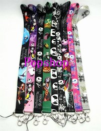 Wholesale Cartoon Badges - Hot!50PCS Mixed The Nightmare before Christmas Cartoon key lanyards ID badge holder keychain straps for mobile phone Free Shipping