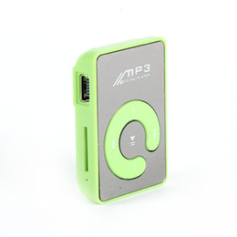 Wholesale Mini Clip Mp3 White - Mini MP3 Music Player Mirror Clip Support 8GB SD TF Card USB Digital 6 Colors