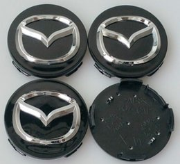 Wholesale Logo Center Cap - NEW 4 PC SET MAZDA BLACK GRAY CENTER WHEEL CAPS CHROME EMBLEM 56MM HUB CAP LOGO