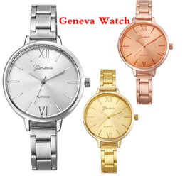 Wholesale Geneva Metal - 2017 fashion women ladies geneva alloy watch roman numbers casual thin metal bands bracelet lady dress quartz wrist watches