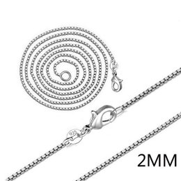 Wholesale Silver Box Chain 2mm - 925 Sterling Silver Necklace Hot Sale Wholesale High quality 925 Sterling Silver necklace box chain 2mm Free Shipping
