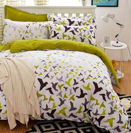 modern king beds Coupons - Birds & Blooms bedding set 2017 flower bed linens 4pcs set 5 size duvet cover set Pastoral bed set kids   Adult bedding bedcloth