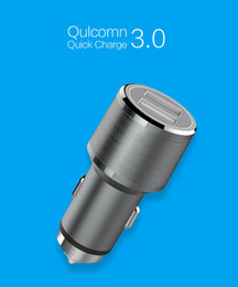 Защитная оболочка онлайн-Безопасный молот Алюминиевый сплав Shell QC 3.0 + 2.4A До 30W 2 порта USB Автомобильное зарядное устройство для смартфона планшетного ПК 50pcs / lot