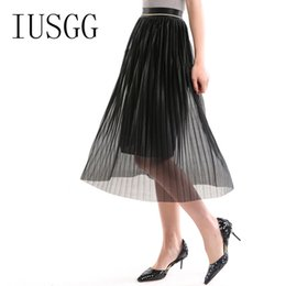 Wholesale Maxi Elastic Waist Chiffon Skirt - Chiffon Skirt all-match Waist Elegant Bohemia Pleated Skirt Elastic Waist Mid-Calf Maxi Tulle Beach Skirt