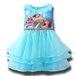 Wholesale Childrens Tutu Wholesale - New Summer Fancy Girl Moana Cartoon Princess Dress for Kids Girls Tiered Dresses Clothes Childrens Blue Dress Clothing Ball Gown