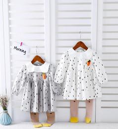 Wholesale Dot Dress Long - new arrival Girl dress kids spring long sleeve 100% cotton A little rain print Lapel dress girl dress 2 colors free shipping