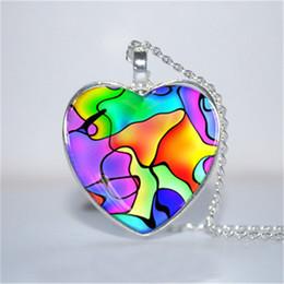 Wholesale Mosaic Necklaces - 10pcs lot Mosaic Pendant, Mosaic Necklace, Mosaic Jewelry, Colorful heart Necklace Glass Photo Cabochon Necklace