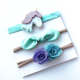 Wholesale Grosgrain Ribbon Hairbands - 3 Pcs Set Baby Girl nylon flower headband Child kids Grosgrain Ribbon Lace Floral Pony Hairbands Head Accessories Photography props SEN068