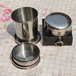 Wholesale Wholesale Collapsible Mug - Portable Stainless Steel Folding Drinking Wine Cup Mug for Outdoor Travel Camping Picnic Key Chain Collapsible Telescopic Cups