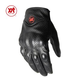 Wholesale Perforated Leather Gloves - Wholesale- Black touch sensitive motorcycle Gloves breathable perforated real Leather motor motorcycle gloves motorsport Protective Gears
